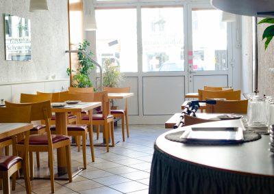 Der Frühstücksraum der Pension Scheuermann in Walldorf